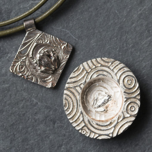 Silver clay frogs by Hamilton Jewellery, moulding class