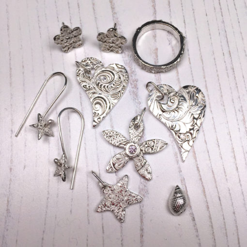 Students work from a silver clay class by Hamilton Jewellery
